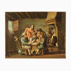 Antique Flemish Interior Scene Painting, 18th-Century