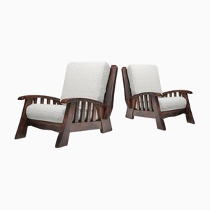 Rustic Modern Chalet Club Chairs With Pierre Frey Bouclé, 1960s, Set of 2