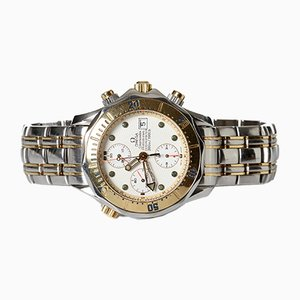 Reloj de pared Seamaster Diver 300 M de acero dorado con cronógrafo de Omega, 1998