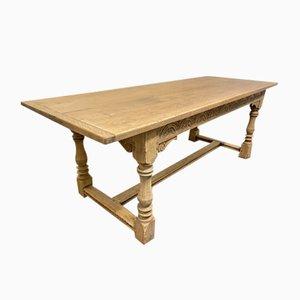 Table de salle à manger de réfectoire de ferme anglaise en chêne blanchi