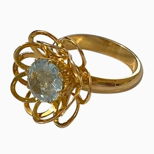 18 Karat Gold Ring with Aquamarin, Stockholm, 1966