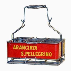 Italian Vintage Metal Aranciata San Pellegrino Soda Bottle Basket, 1960s
