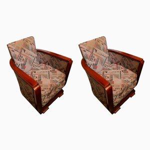 Sillas Art Déco de caoba y tela de Jules Leleu, años 30.Juego de 2