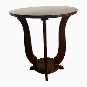Art Deco Mahogany Pedestal Console Table, 1930s