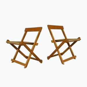 Sillas plegables BM45701 de madera de haya con lienzo de Børge Mogensen para Søborg Furniture.Juego de 2