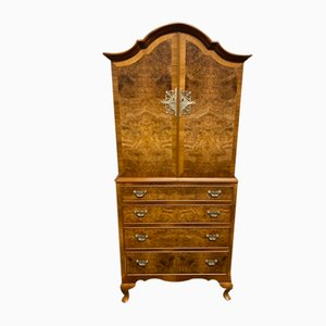 Burr Walnut Queen Anne Cupboard over Chest of Drawers or Small Linen Press