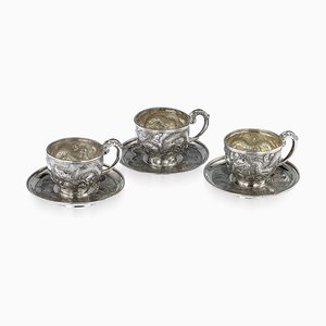 Antique 19th-Century Chinese Solid Silver Tea Cups & Saucers from Nam-Hing, Set of 3