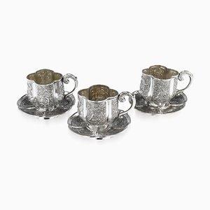 Antike chinesische Teetassen und Untertassen aus massivem Silber aus dem 19. Jahrhundert von Nam-Hing, 3er-Set