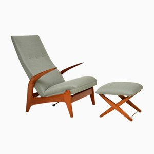 Rock 'n' Rest Armchair & Stool by Rolf Rastad & Adolf Relling for Gimson & Slater, 1960s, Set of 2