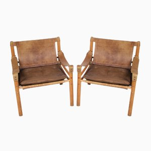 Swedish Model Sirocco Safari Lounge Chairs by Arne Norell for More Mobler, 1960s, Set of 2