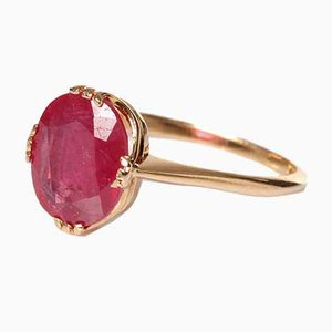 18K Glass-Filled Ruby Ring, 1966