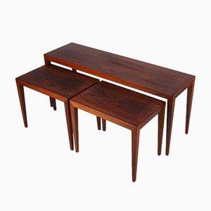 Tavolini ad incastro in palissandro di Severin Hansen per Haslev Møbelsnedkeri, anni '60, set di 3