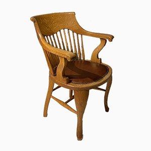 Chaise de bureau Edwardian en chêne blond et cuir