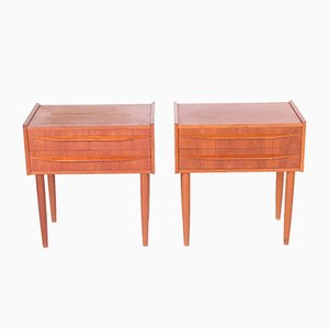 Danish Teak Bedside Tables with 2 Drawers, 1960s, Set of 2