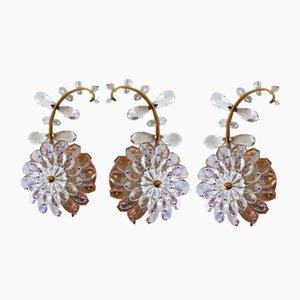 Applique con fiori in cristallo iridescente e ottone di Palwa, anni '60, set di 3