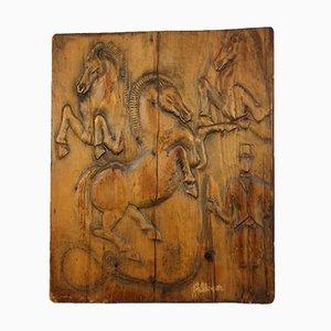 Feldman, circo, relieve tallado a mano, años 70