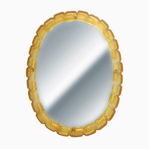 Mid-Century Amber Oval Mirror