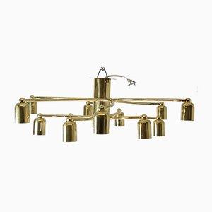 Brass Sciolari Style Chandelier, 1970s