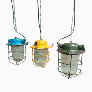 Lampade da soffitto industriali, anni '60, set di 3