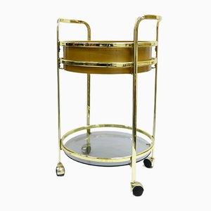 Glass and Brass Bar Trolley, 1980s