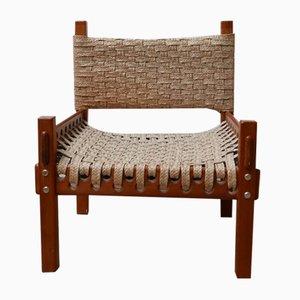 Mid-Century Teak and Banana Leaf Cord Armchair