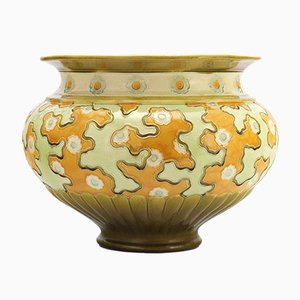 Large Art Nouveau Majolica Jardiniere from Burmantofts Pottery, 1890s