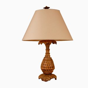 Französische Ananas Tischlampe aus Geschnitztem Vergoldetem Holz von Maison Jansen