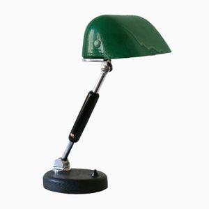 Bauhaus Banker Tischlampe mit Grünem Originalglas, 1930er