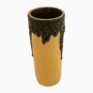 Vintage Yellow Ceramic Fat Lava Vase from Scheurich, 1960s