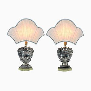 Silver Plated Copper Table Lamps with Fans, 1970s, Set of 2
