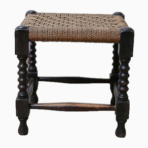 French Mid-Century Woven Cord Wooden Stool or Side Table