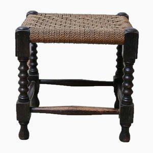 Table Mid-Century en Bois Corde Tressée ou Table d'Appoint