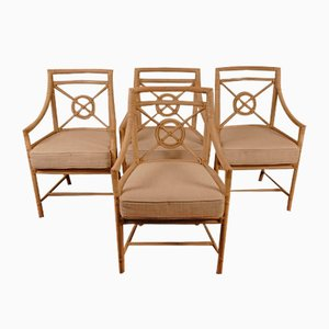 Rattan Target Back Dining Chairs von Elinor McGuire, 1980er Jahre, 4er-Set