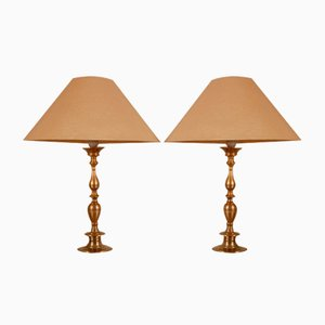 antique gilt bronze Table Lamps, Set of 2