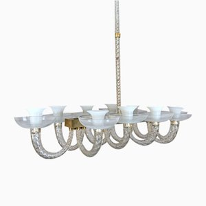 Italian Murano Glass Chandelier with 10 Arms by Carlo Scarpa for Venini, 1930s