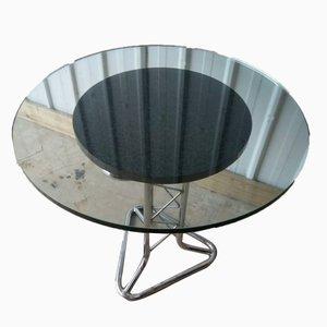 Table de salle à manger Mid-Century en chrome tubulaire et plateau en verre pylône
