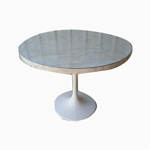 Vintage Round Dining Table with Marble Effect Top & Tulip Base in the Style of Saarinen & Arkana