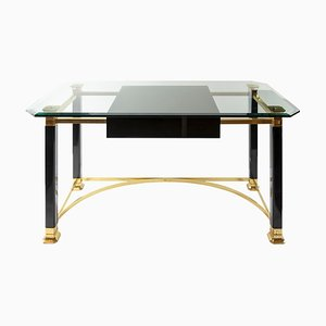 Mid-Century Italian Brass and Glass Top Desk/Writing Table