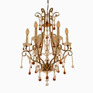Fiorentino Chandelier With Hanging Murano Glass Drops, 1980s