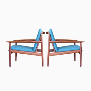 Mid-Century Teak Lounge Chairs by Arne Vodder for Glostrup, 1960s, Set of 2