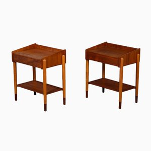 Model 148 Teak and Beech Bedside Tables by Børge Mogensen for Søborg Møbelfabrik, Set of 2, 1954