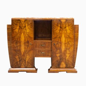 Art Deco Burl Walnut Cabinet with Marble Table Top, 1930s