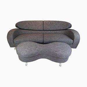 Norwegian Grey Wool 2-Seat Sofa with Stool from Brunstad, Set of 2