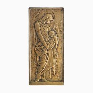 Mary Jesus Bronze Plate by Daniel Dupuis Belle Epoque, 1890s
