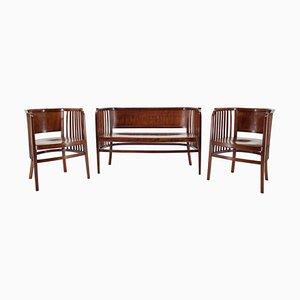 Holzsofa & Stühle Set von Marcel Kammerer für Gebruder Thonet, 1910er