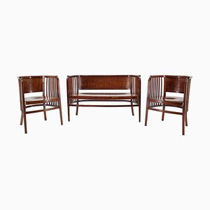 Wooden Sofa & Chairs Set by Marcel Kammerer for Gebruder Thonet, 1910s
