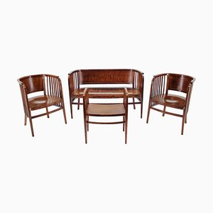 Wooden Sofa, Chairs & Stool Set by Marcel Kammerer for Gebruder Thonet, 1910s