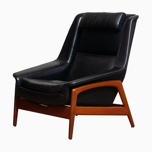 Lounge Chair Profil in Black Leather and Teak by Folke Ohlsson for Dux,1960s