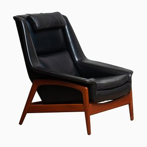 Lounge Chair Profil in Black Leather and Teak by Folke Ohlsson for Dux, 1960s