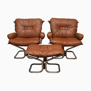 Lounge Set Cognac Leather and Steel by Harald Relling for Westnofa, Norway, 1970s